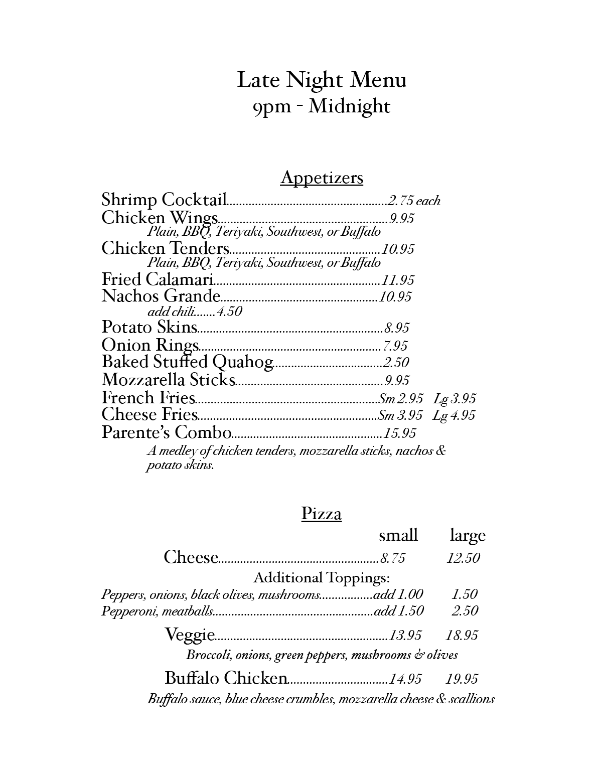 Parente's Late Night Menu 08-21-20